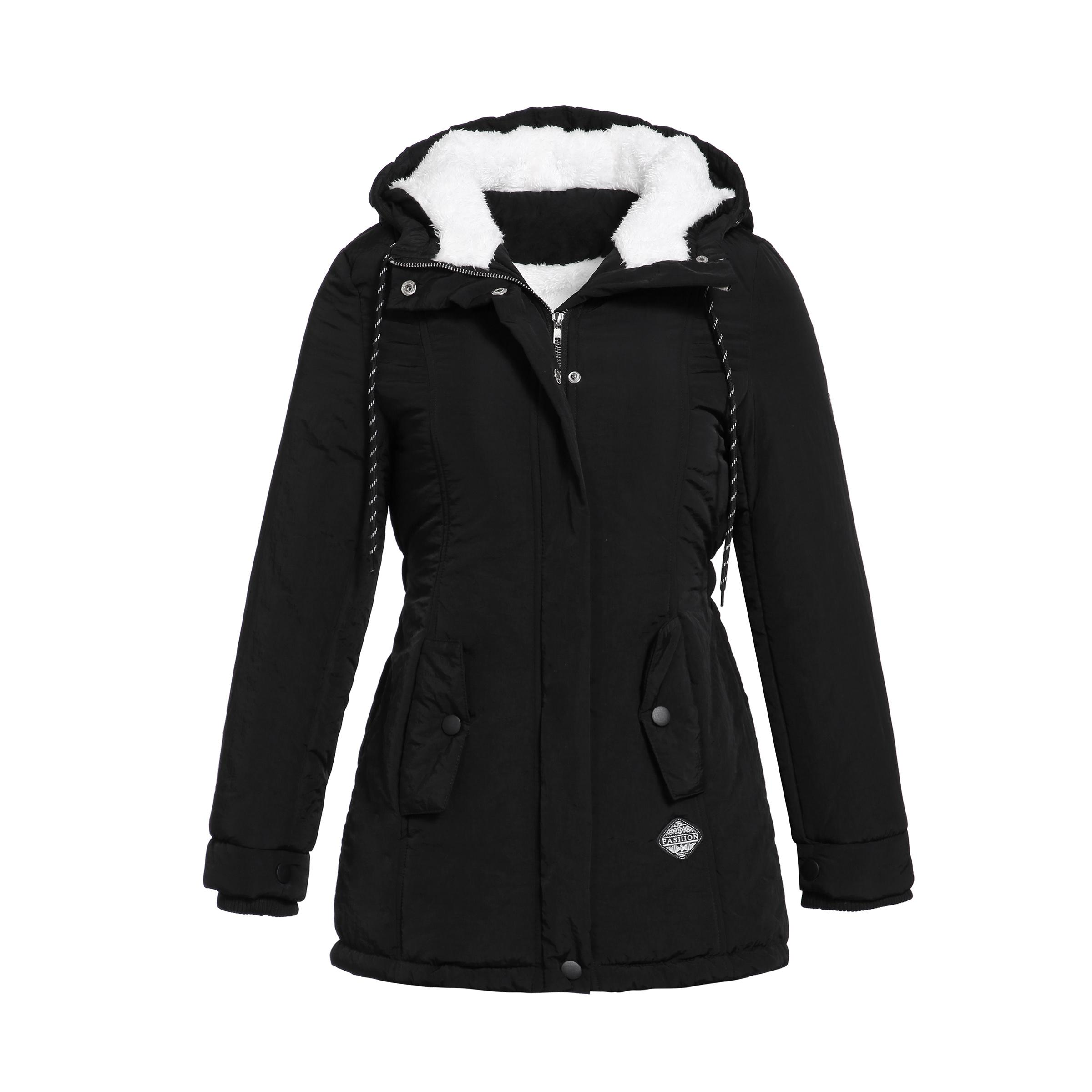 Siyah Pamuk Mont Kadın Rahat Ceket Ceket Moda Basit Yüksek Sokak Ince Kış Sıcak Kalınlaşmak Temel Üstleri Kadın Artı Boyutu Çalışması T190817