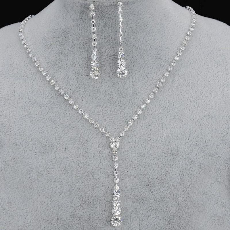 Explosiones Europa y el collar de diamantes de imitación de novia sencillo conjunto earpin salida de fábrica de joyería de boda de Estados Unidos