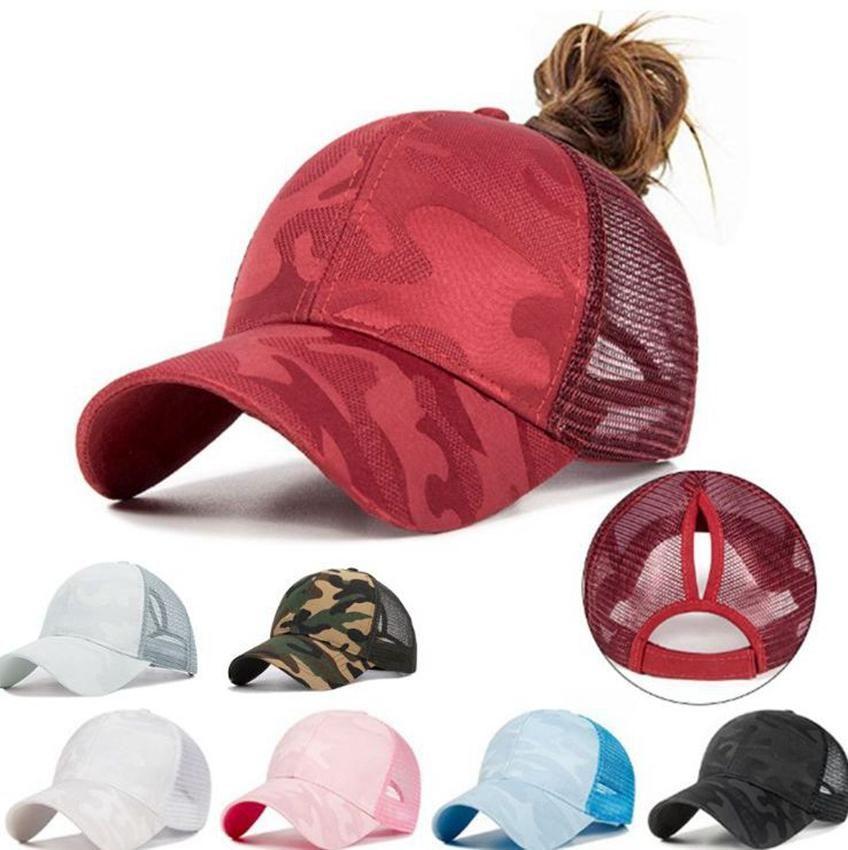 Boné de beisebol Bun verão rabo de cavalo desarrumado Hip Hop Camouflage respirável malha traseiro ajustável Snapback Hat 7 cores LJJK2038