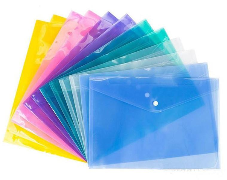 4 color de los documentos A4 de archivo Bolsas con botón a presión sobres transparentes de presentación de carpetas de papel plástico 18C archivo