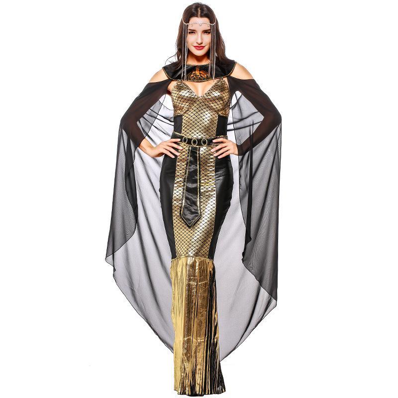 Umorden Делюкс Gold Египетская царица Клеопатра Костюм пришивания длинное платье Phoenix печати Женщины для взрослых Пурим Halloween Party костюмы