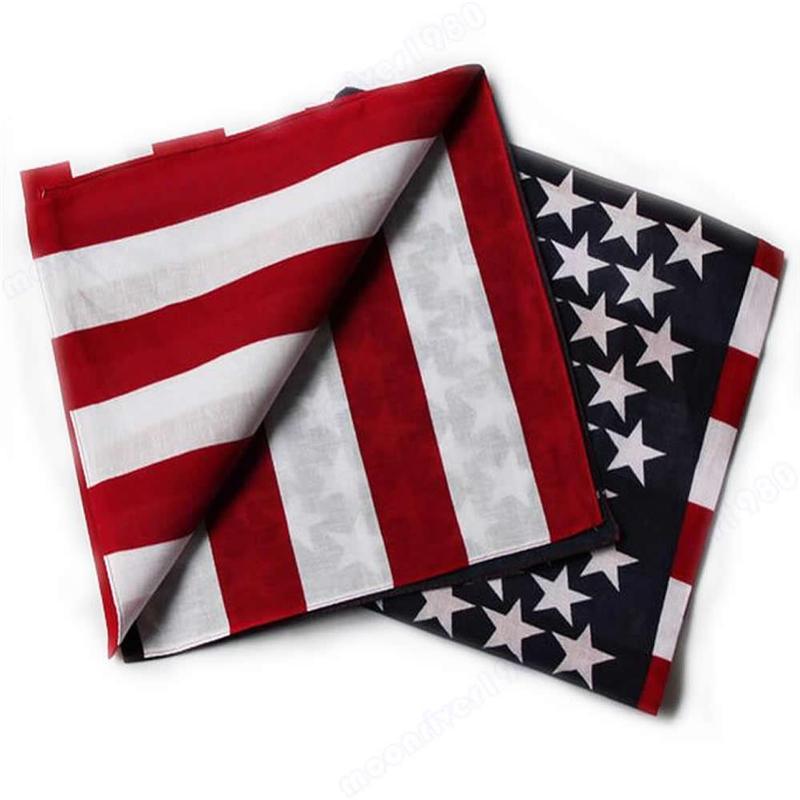 Unisex 1pcs American Flag Cotton Scarf New Fashion Unisex US Flag Scarves Bandanas Hip-hop Dance Travel Head Scarf C19011001