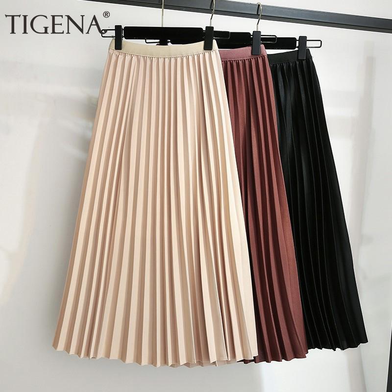 TIGENA Midi Jupe longue Femmes Mode Automne Hiver 2019 coréenne Une ligne haute taille Jupe plissée Femme Mesdames V191019