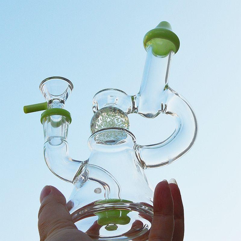 Green Purple Glass Bongs Beaker Bongs Glow In The Dark Oil Dab Rigs Showerhead Perc Slitted Donut Perc Water Pipes XL-341