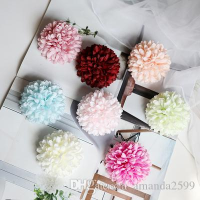 50pcs 6cm 7Colors Wholesale Artificial Silk Carnation Flower Heads For DIY Mother's Day Flower Wall Event Party Garland headware Decor