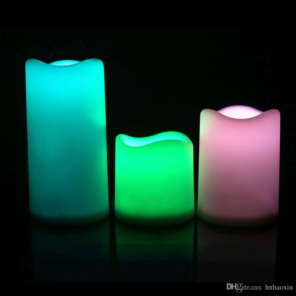 Haoxin светодиодные свечи свет ABS Материалы 3шт / набор Свадебный Рождество день рождения и бар RGB / теплый белый / желтый выбрать продаются без батареи