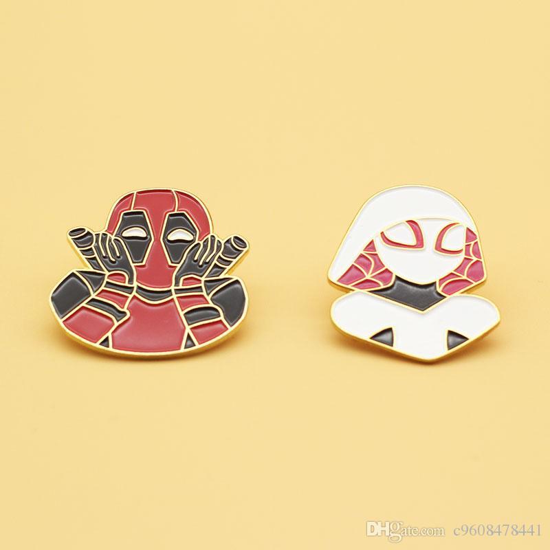 Marvel Deadpool El hombre araña hembra mochila de dibujos animados broche de la muchacha linda decorada con alfileres moda de alta gama regalos de joyas de aleación de insignias