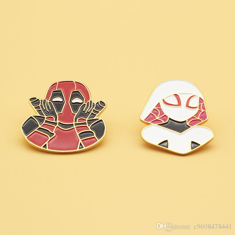 Marvel Deadpool The female spider man Cartoon brooch Cute girl's knapsack decorated with high-end pins Fashion jewelry gifts alloy badges