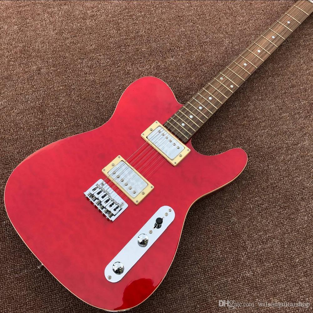 loja personalizada, Rosewood fingerboard handwork guitarra elétrica, 6 picadas gitaar.double guitarra cor vermelha