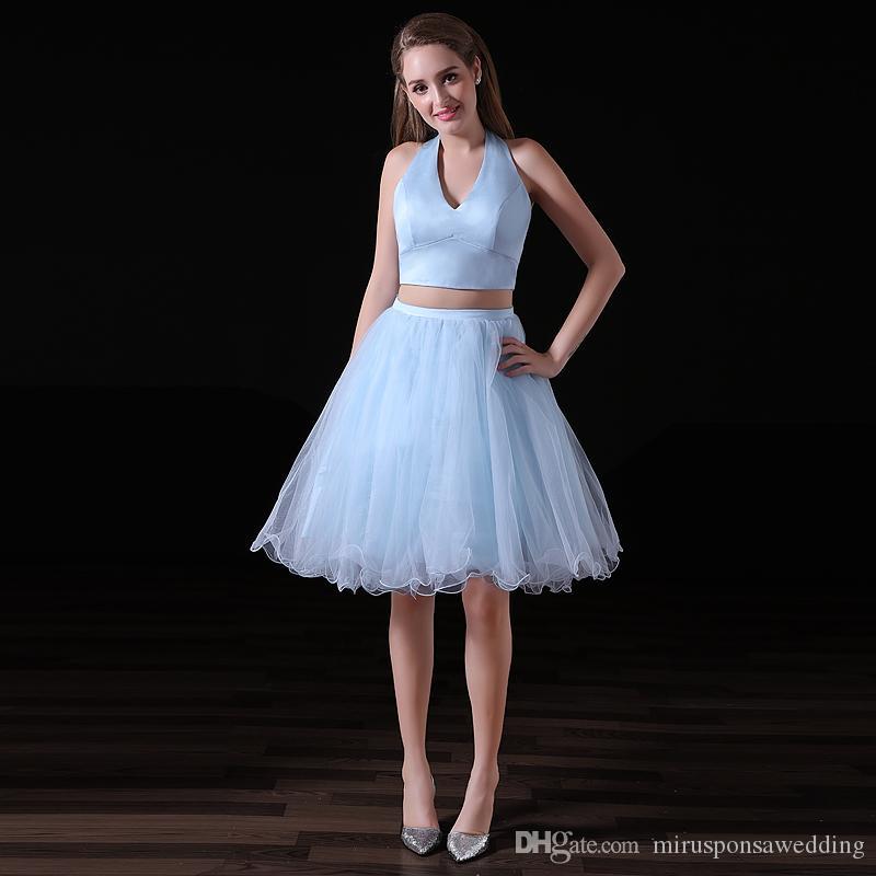 MA003 세련된 고삐 홈 커밍 드레스 상점 아기 블루 댄스 파티 드레스 새틴 얇은 명주 그물 두 조각 댄스 파티 드레스 짧은 달콤한 16 개 드레스