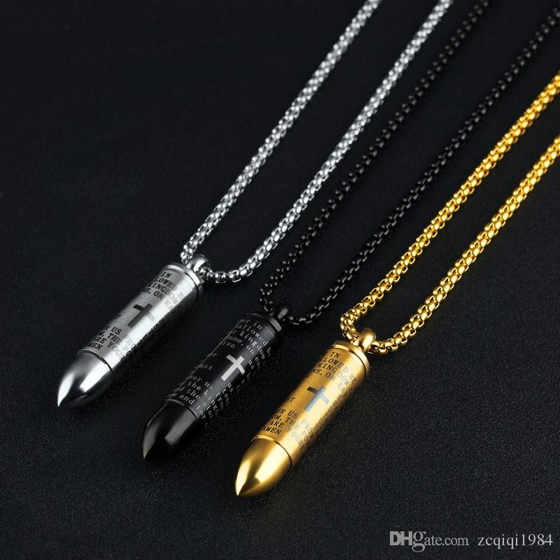 Stainless steel bullet pendant fashion Hollow Bullet can be unscrewed with paper necklace loaded bullet necklace