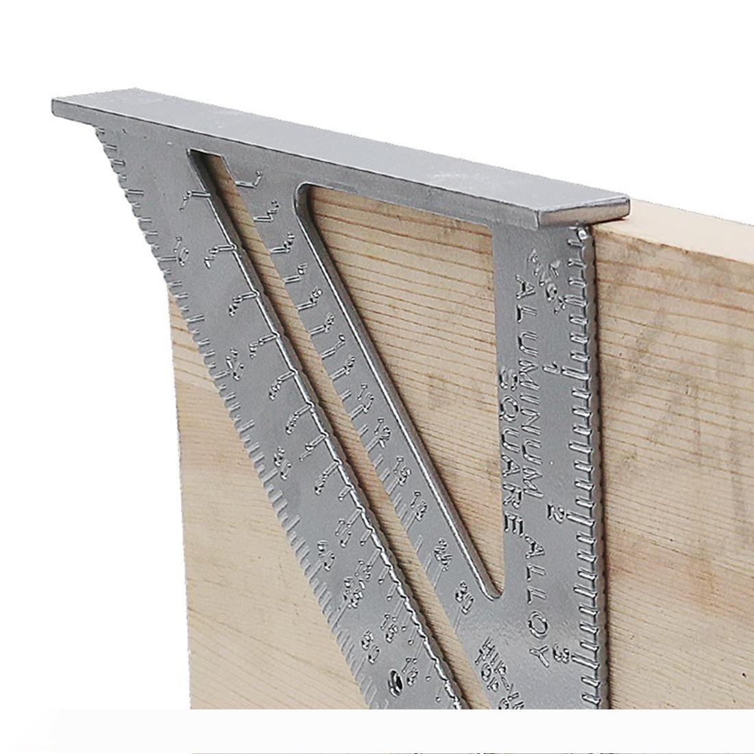 B Speed Square Protractor Aluminum Alloy Miter Framing Tri-square Line Scriber Saw Guide Measurement Inch Carpenter Ruler Dropship