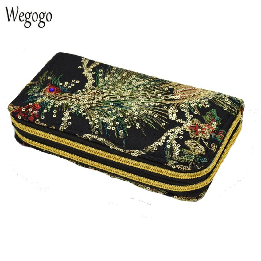 New Women Clutch Bag National Double-sided Peacock Embroidery Purse Canvas Long Wallet Two Zipper Mobile Phone Small Coin Bags