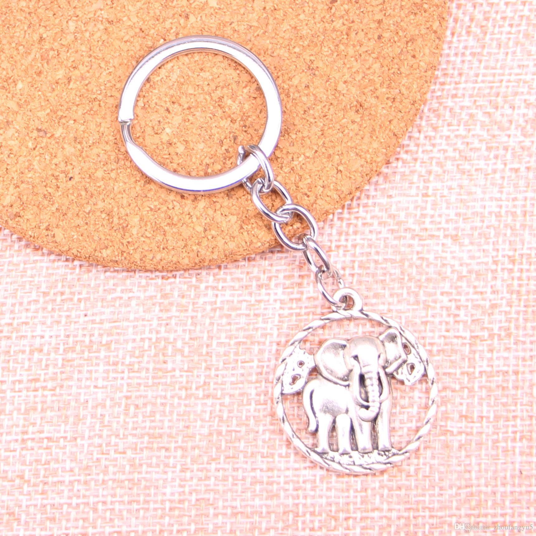 Новый брелок 28мм круг слон Подвески DIY Мужчины автомобилей Key Chain Кольцо держатель брелок Сувенирная подарка ювелирных изделий