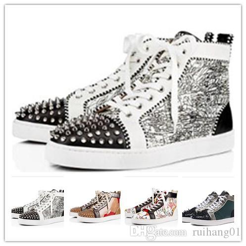pattini del progettista uomini donne Chaussures borchie Spike Sneakers in pelle Triple Nero Bianco Rosso Suede fondo piatto scarpa casuale 35-46 0m100
