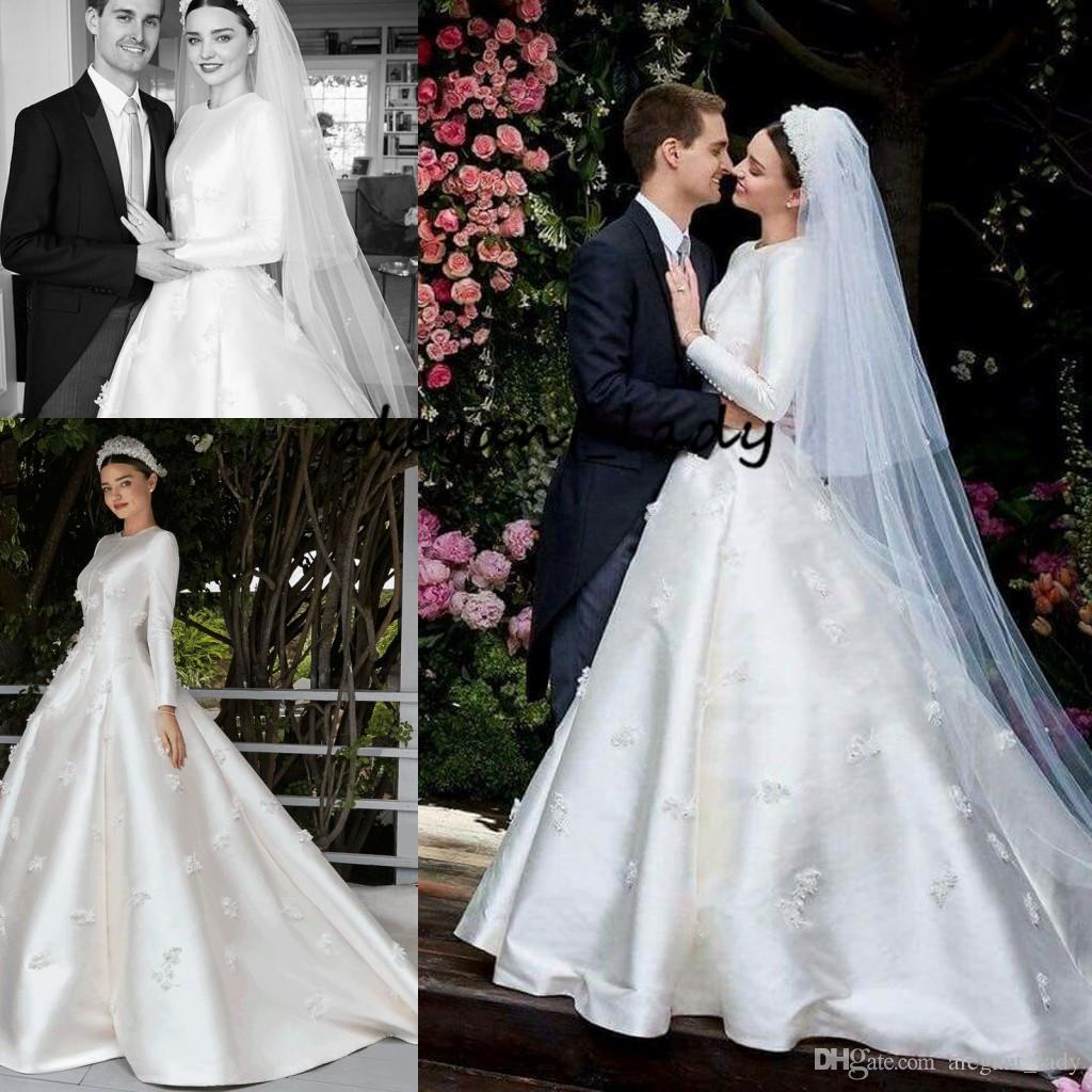 Discount Miranda Kerr Wedding Dresses With Long Sleeve 2019 Modest