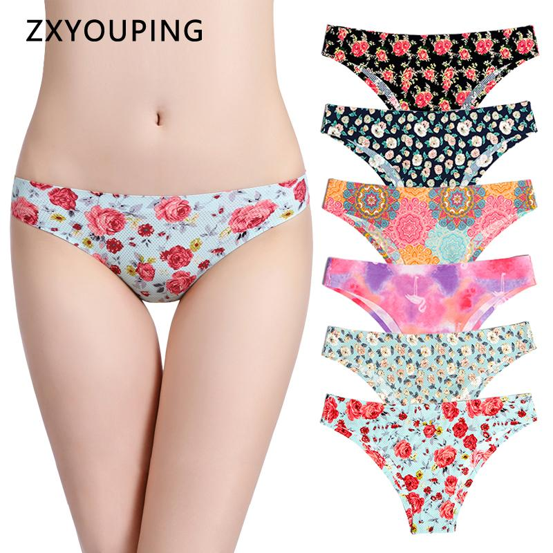 Print Mesh Breathable Seamless Panties Women Underwear Sexy Thongs Female Lingerie Tangas XS-L US Size Briefs 12 Colors Style T200418