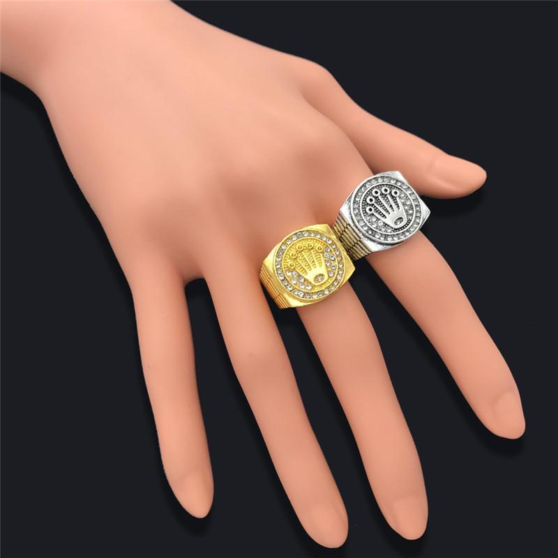 Moda Hip hop / rock Crown anel para homens e mulheres de jóias anel de ouro