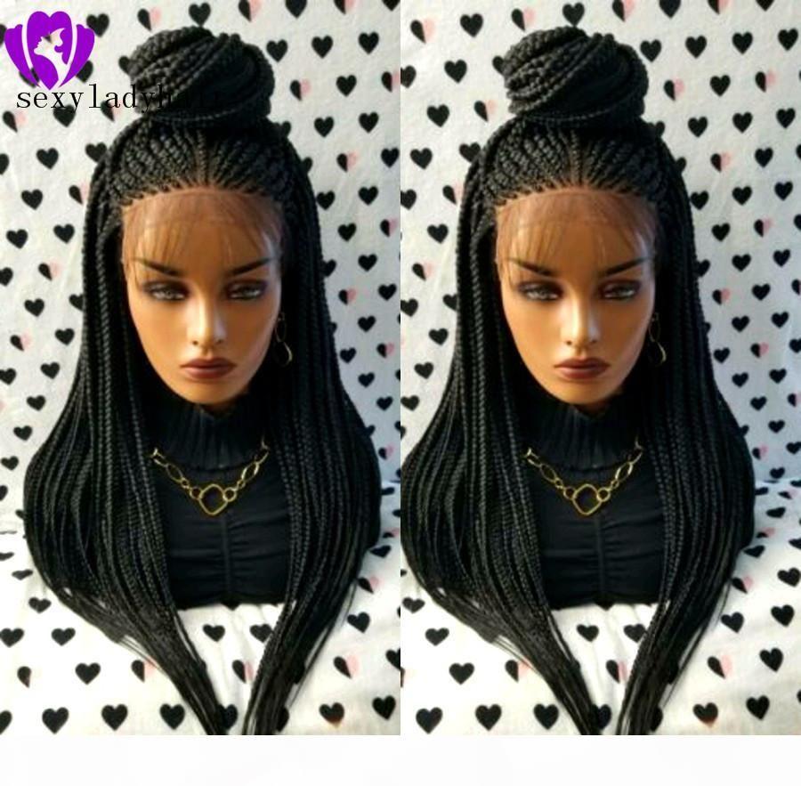 Hotselling peruca preta com caixa de cabelo do bebê trançada peruca de alta Tempeprature Fiber Glueless sintética peruca dianteira do laço Cabelo Comprido Lace Wigs