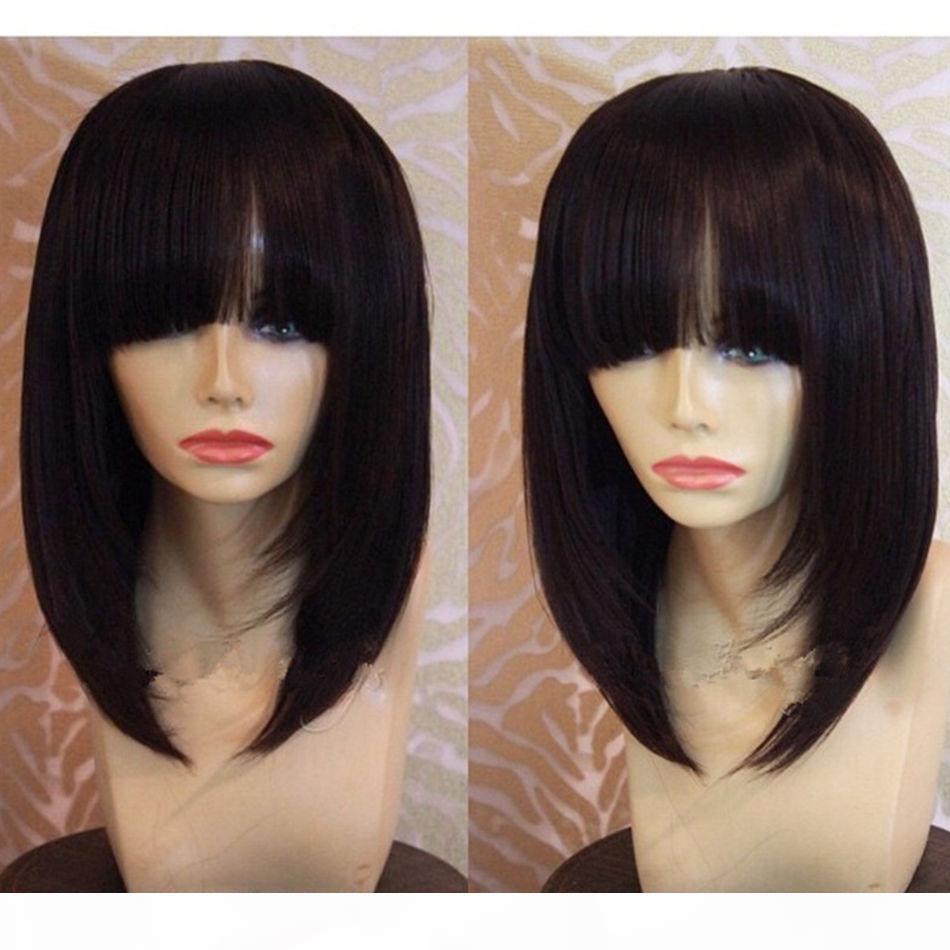 Curto laço completo de cabelo humano Bob Perucas com estrondo contundente Glueless parte dianteira do laço do cabelo humano 8inch Bob cortar perucas para as mulheres negras