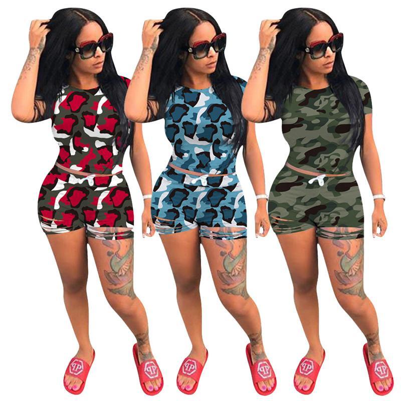 Камуфляж Tracksuit Женщины Два Piece Set Crop Top + шорты Jogger Фитнес костюм 2 Piece Set Летние наряды оптом Dropshpping