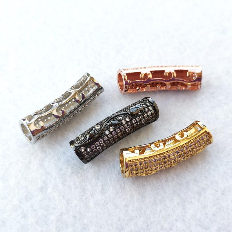 3 Rows Tube Zircon Gemstones Rectangle Micro Pave Connector Charm Bead Bracelets