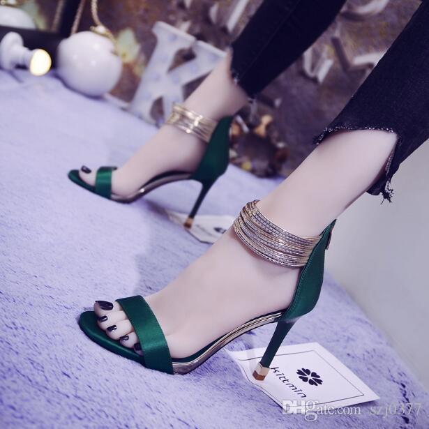 mit Box Luxus-reizvollen Frauen hohe offene Zehen Stilettos Schuhe Gladiator Sandalen Reißverschluss Schuhe Shallow Mund Designer-Mode Dame Partei Hochzeit