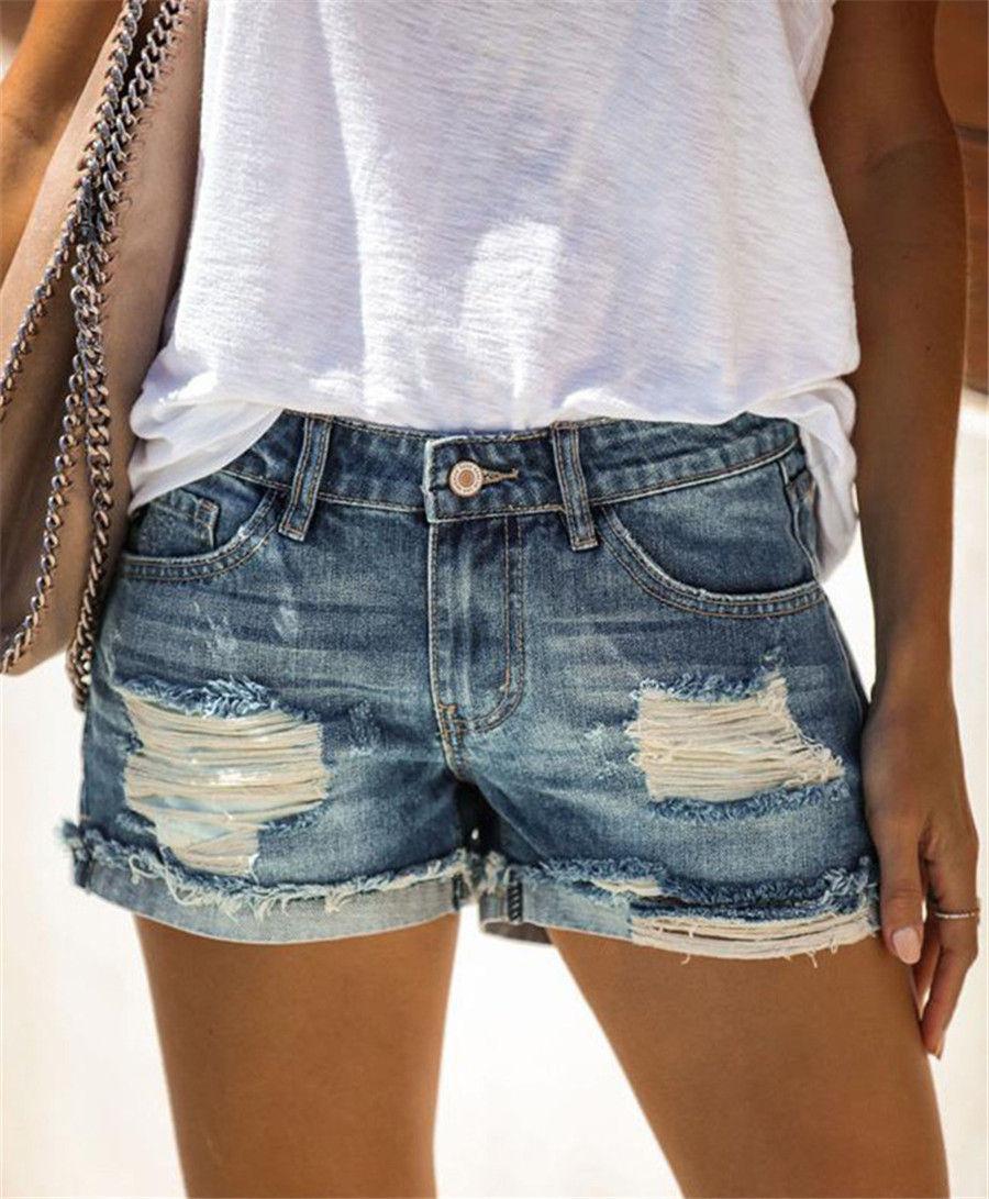 Buracos Womens Jean shorts azuis magro sexy das senhoras Short Jeans Casual Hetero Moda cor sólida Roupa Femme