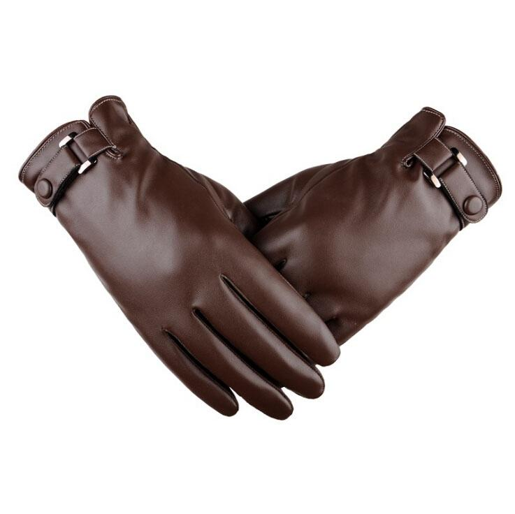 Fashion-2017 New Fashion PU Leather Gloves Men's Winter Gloves Classical Driving Gloves Touch Screen Mittens for man