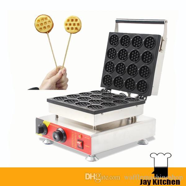 16 adet Yuvarlak Lolly Waffle Yapma Makinesi Ticari Aperatif Ekipmanları Elektrikli Waffle Makinesi Popüler Snack Ekipmanları Ekmek Evi