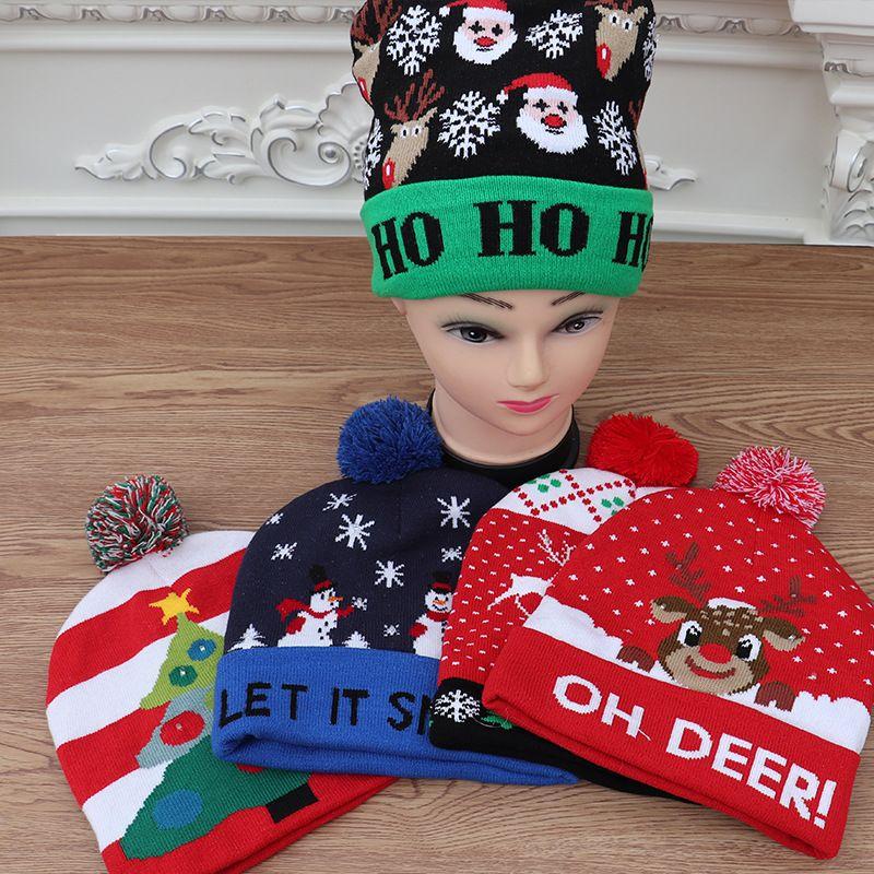 산타 눈사람 순록 크리스마스 트리 WX9-1650 용 LED 크리스마스 니트 모자 크리스마스 라이트 업 비니 모자 야외 빛 자란 볼 스키 모자