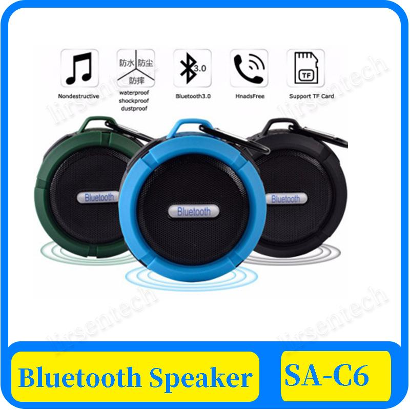 100X impermeable altavoz estéreo inalámbrico Bluetooth C6 Columna al aire libre tarjeta de la caja de graves TF altavoces de sonido portátil de pequeño tamaño Sucker
