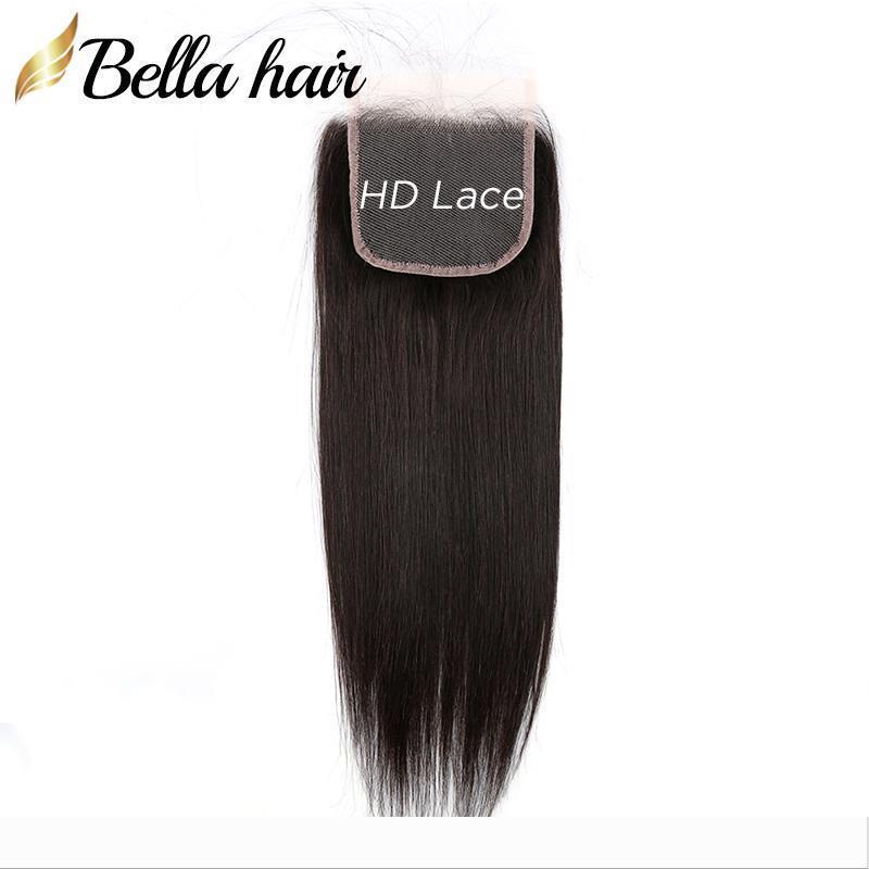 9A HD Lace Encerramento 4x4 100% Virgin Humano Encerramento Cabelo Oriente gratuito Three Parte Top Closures com cabelo do bebê Natural Cor do cabelo Bella