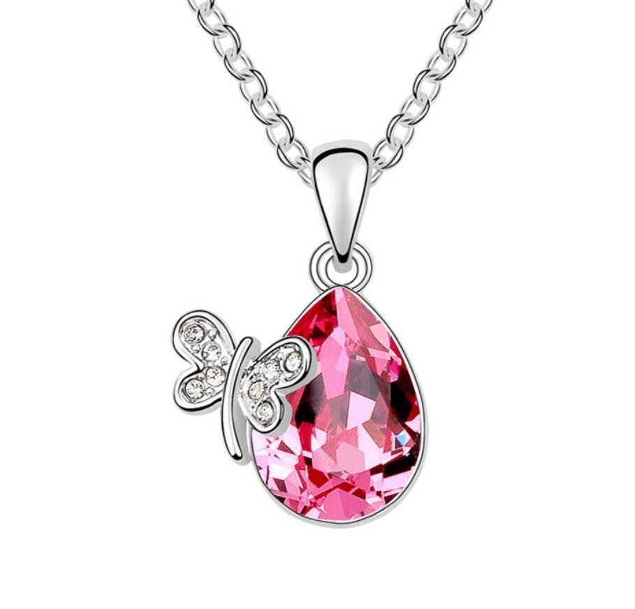 Hecho en China, joyería de moda, mujer, originalidad, adornos, con Swarovski Elemental Crystal Necklace Miss Butterfly Colgante.