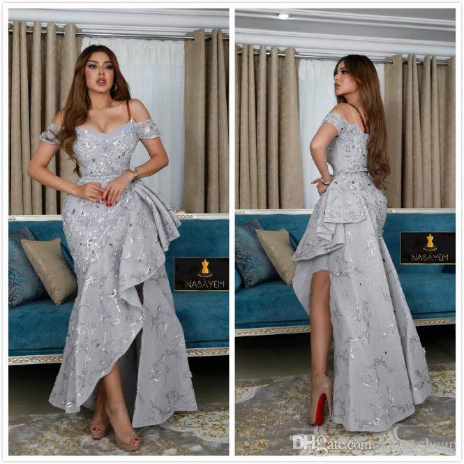 2019 Aso Ebi Árabe Sereia de Prata Sexy Vestidos de Noite Espaguete Frisado Renda Vestidos de Baile Vintage Formal Partido Dama de honra Pageant Vestidos ZJ4