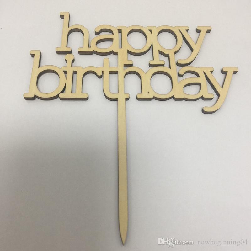 5pcs happy birthday cake topper birthday party decoration wood happy birthday cake topper free shipping