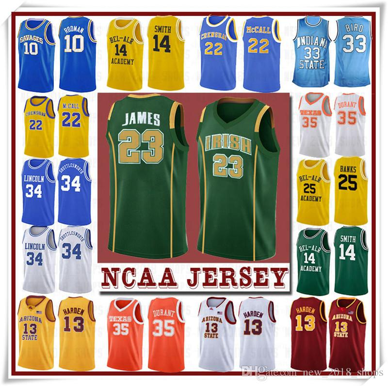 NCCA Jersey James Iverson Homens 23 Lebron Durant 13 Harden Curry Stephen College Basketball Jerseys Russell Westbrook Men1