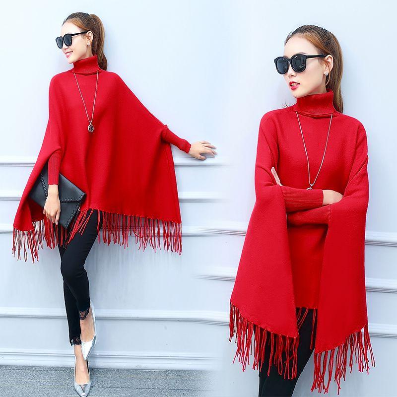 Frauen Gute Pullover Rollkragenpullover Lange Flügelhülse Mantel Lässig Jacke Herbst Pullover Quaste Dekoration Dame Top Kleidung