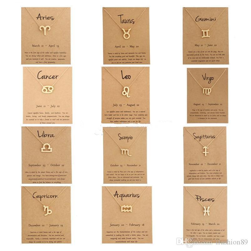 Hot 12 Collares zodiaco con la muestra tarjeta de regalo constelación de cadenas de oro colgante collar Para Hombres Mujeres joyas de moda a granel