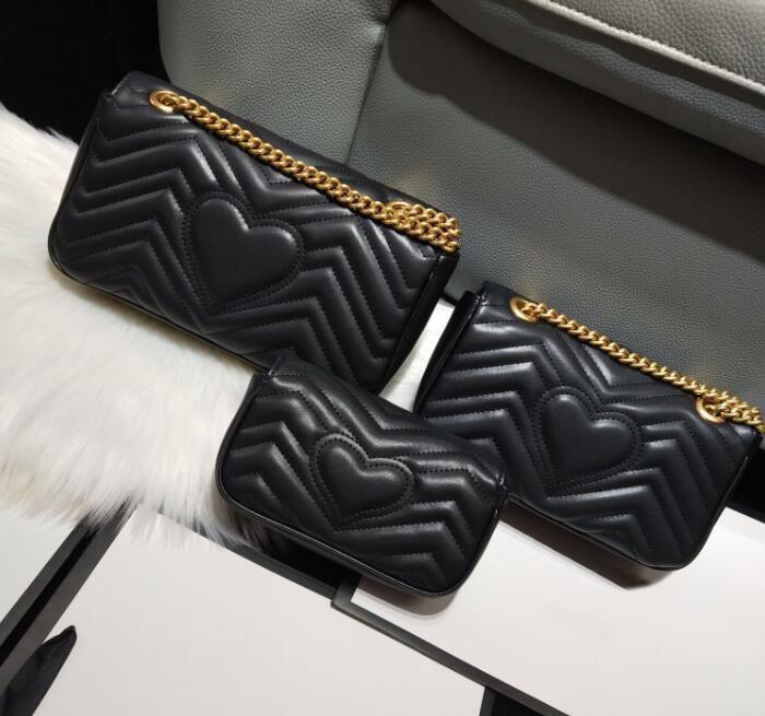 2021 تصميم الكلاسيكية أعلى جودة عشاق شكل قلب حقائب الكتف المرأة سلسلة crossbody مكياج حقيبة حقائب محفظة 3 szie l m s