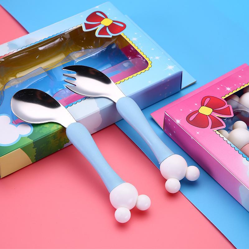2pcs 304 en acier inoxydable cuillère enfants Cartoon fourchette cuillère Set bébé Nourrir cuillère courbé Anti-échaudage Arts de la table cadeau pour les enfants