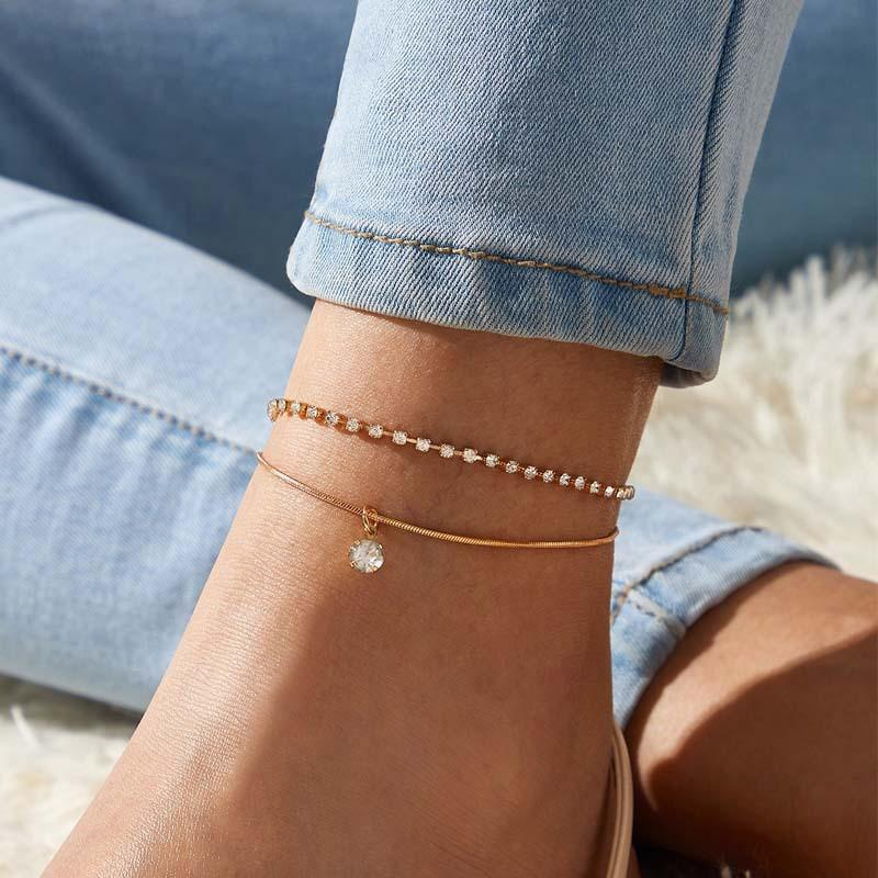 New Fashion Gold Plated Multi Layer Chain Anklet Bracelet For Women Simple Snake Chain Round CZ Zircon Dangle Charms Anklets