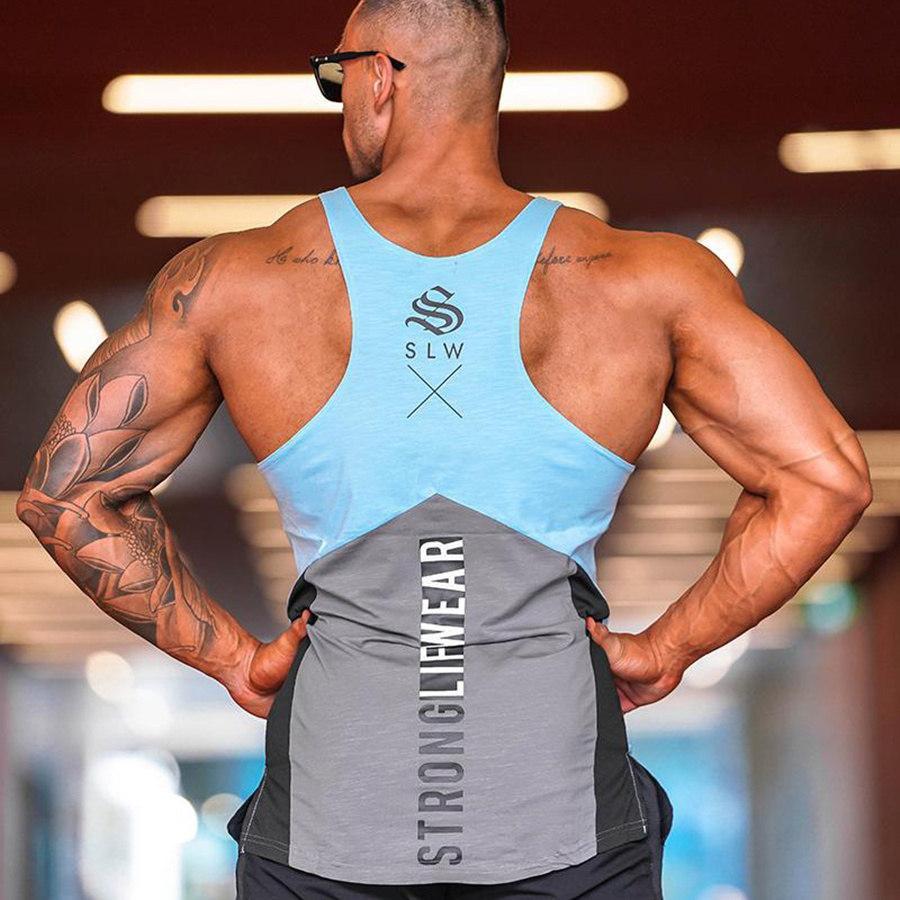 Nuovo Design Mens Bodybuilding Canotte Estate Casual senza maniche Camicie maschili Palestra Fitness Canotta Sling Vest