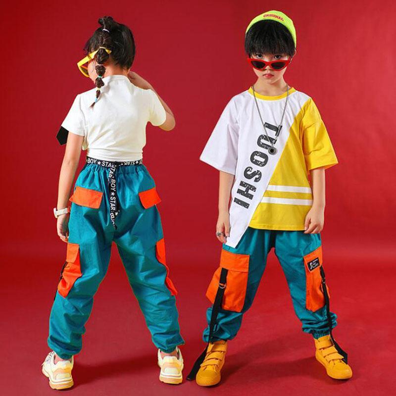 Children Tshirt Pants Ballroom Jazz Dance Costumes hip-hop Clothing Boys Modern Jazz Dance Stage wear Costumes Street Outfits