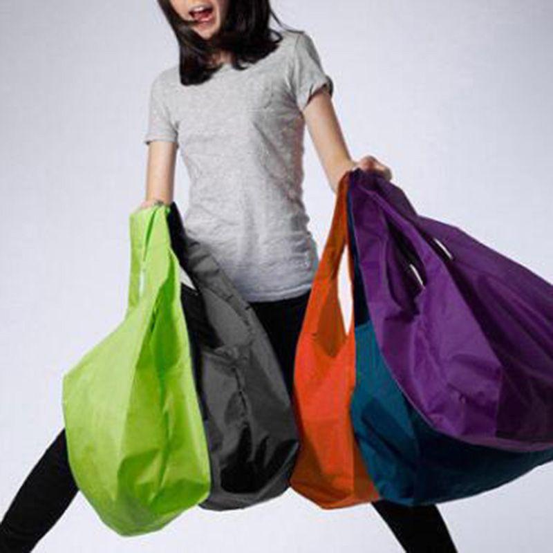 Portable Folding Shopping Bags Pure Color Lightweight Large Nylon Bag Thick Bag Foldable Waterproof Ripstop Reusable Handbag For Shopping