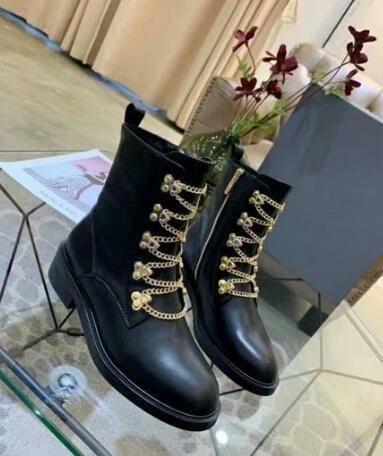 Sıcak satış-Marka D1or Kadın Martin Boot İnek Deri Kovboy Patik Demir Zinciri Bayanlar Günlük Ayakkabılar SZ35-40