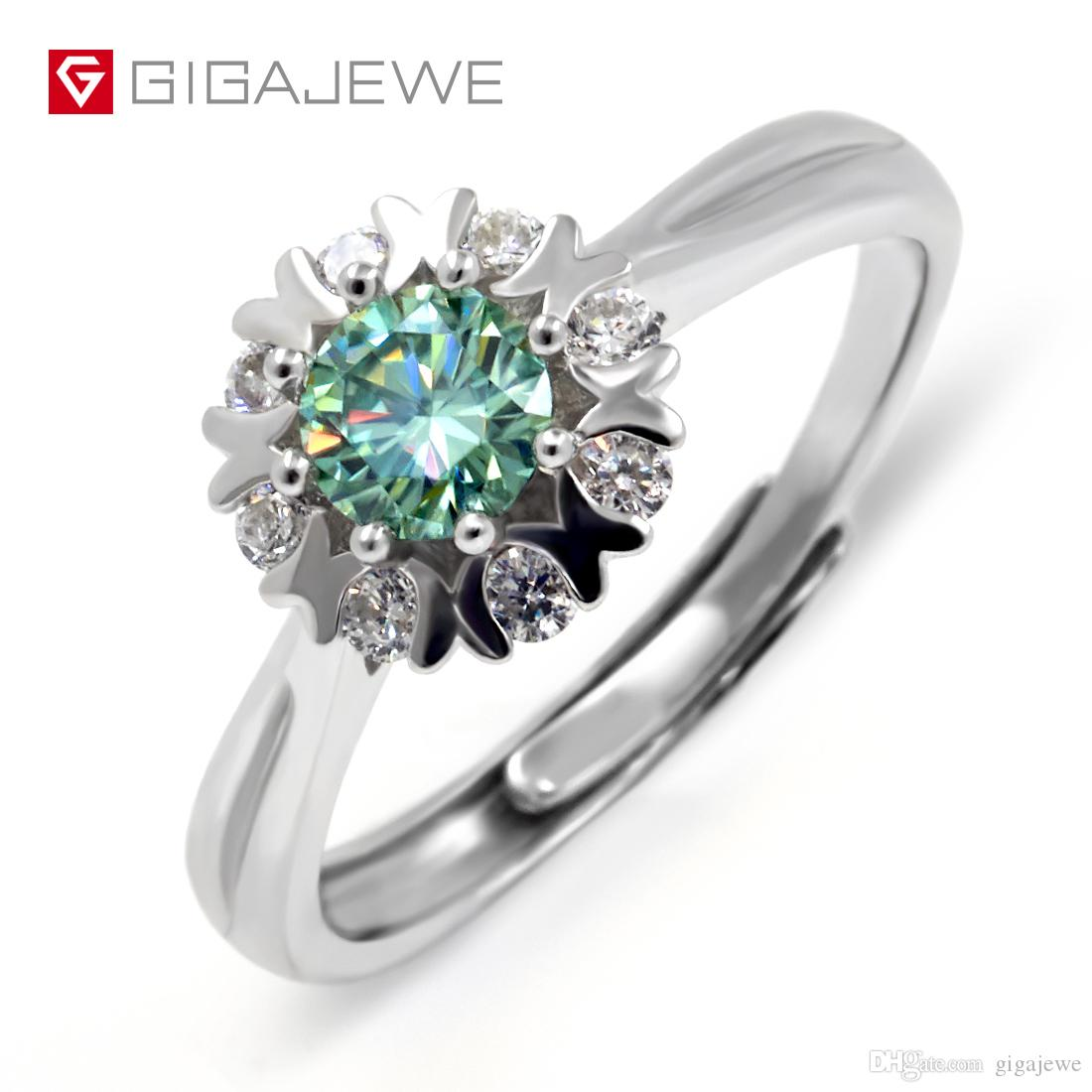 0.46Ct Green Round Moissanite Bridal Engagement Ring Flower 925 Sterling Silver For wedding Free Shipping