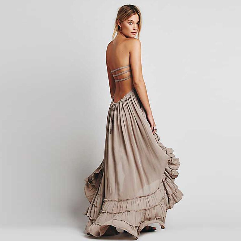 Sommer Sexy Backless Bandage Wrap Brue Boho Strandkleid Frauen Elegante Böhmische Robe Femme Casual Party Maxi
