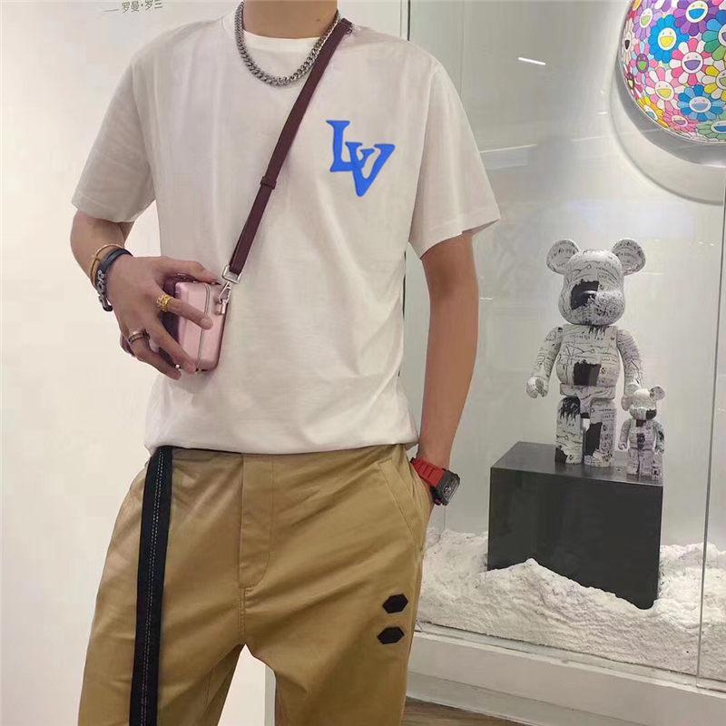 2020SS expédition mode haute vêtements décontractés pour hommes qualité T-shirt hommes été rue short coton T-shirt à manches courtes tops T-shirt