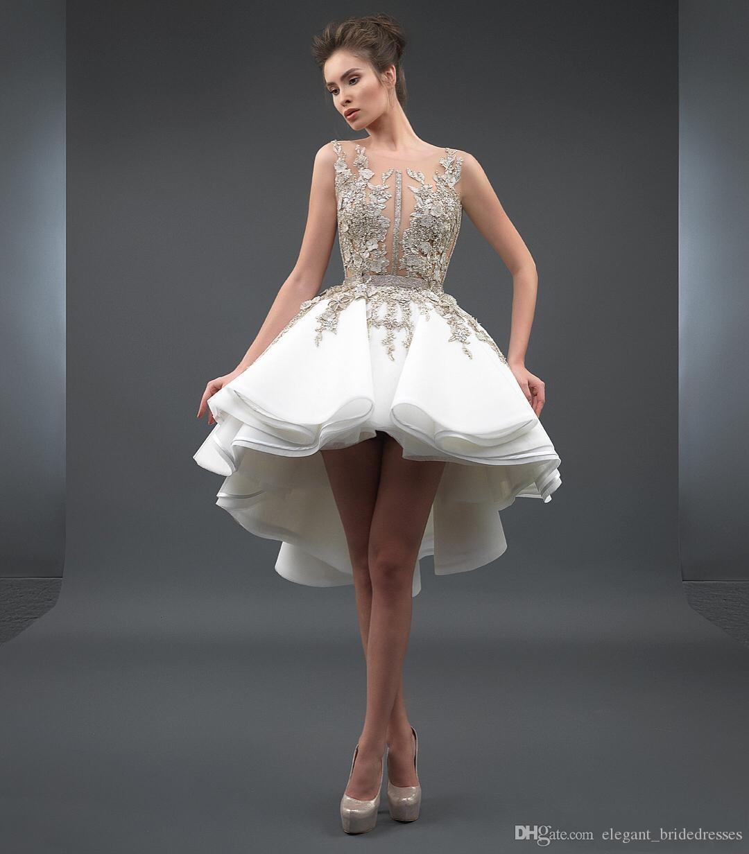 Blanco 2019 Vestidos de cóctel elegantes A-Line Scoop Short Frontal Atrás Aplique Apliques Largo Partido Encaje Plus Talla Homecoming Vestido Vestido de Festa